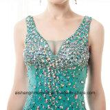 Les femmes ont perlé la robe sans manche en cristal brillante de bal d'étudiants de soirée