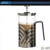 Um conjunto de copos de cafe de imprensa de café francês com alça