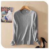 Чисто сплошной цвет пуловера женщин свитера кашемира новой связанный конструкцией с длинней шеей втулки o