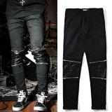 Колено кожаные брюки молнией повседневный брюки черного цвета