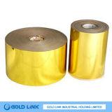 Label Use (PT6403-G)를 위한 50 Mic Gold Hairline Pet Sticker Film