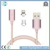2 em 1 cabo magnético trançado de transferência de dados do carregador do USB do nylon para o Tipo-c iPhone