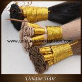 Trame de cheveu attachée par main dessinée par double