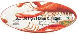 2 حجم بيضويّة كركند عامة تصميم ورقة ملصق مائيّ معدن حصّة صينيّة [و/هندل]