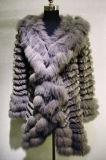 Manteau de fourrure de lapin en tricot avec Fox de la fourrure et le brassard de fraisage