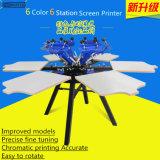 Stampatrice manuale dello schermo della tessile della maglietta del carosello di 6 colori (TM-R6a)