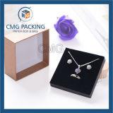 Boîte à boucles d'oreille brillantes et noires de luxe avec insert (CMG-PJB-116)