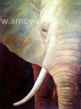 装飾のためのハンドメイドの半分象の油絵の動物のキャンバスの芸術
