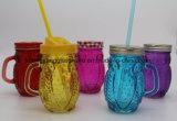Venta caliente hecha en taza de la bebida de China/la taza de cristal de la taza/masón con la maneta