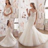 우아한 성 형식 상아빛 레이스 인어 신부 드레스 결혼 예복 (5509)