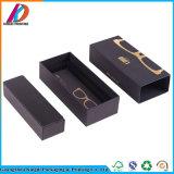 عالة تصميم أسود ورقة زجاج صندوق مع نوع ذهب علامة تجاريّة