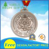 リボンが付いている安い卸し売りカスタム罰金のマラソンのスポーツの金属メダル