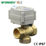 3 contacts à bille en laiton de contrôle électrique de la soupape du régulateur de débit 3 ports avec le manuel de la poignée (DN15 DN20)