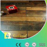 Comercial 12.3mm raspado mano de la nuez con ranura en V piso laminado