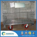 Heavy Duty Contenedor de malla de alambre de acero plegable con ruedas