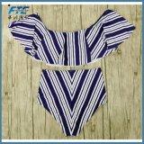 Reizvoller Bikini-gesetzte hohe Taillen-Badebekleidungs-Frauen gestreiftes Biquini