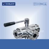 robinet à tournant sphérique serré manuel de 3 voies de l'acier inoxydable 316L (T-Port)