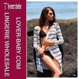 """Beachwear """"sexy"""" do casaco de lã frouxo listrado do Knit (L38366)"""
