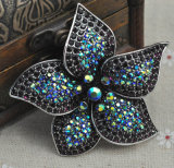 Fashion Rhinestone Big Flower Fantasy Broche Prata