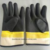 2つのカラー滑り止めPVC手袋オイル証拠PVC手袋