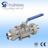 Válvula de esfera do aço inoxidável 3PC feita em Yuzheng