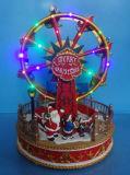 Decoração de Natal de resina de artes e artesanato 10 pol de altura levou o carrossel com caracteres Roating musicais