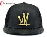 Snapback negro de piel Cap / sombrero con bordado del oro 3D
