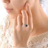 Anello dell'annata dei monili della pietra del nero dell'agata dell'anello di Marcasite