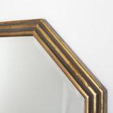 熱い販売の旧式な金狭い木製ストリングが付いている八角形フレームの壁ミラーは飾った