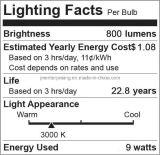 bulbo suave superior equivalente de la pizca LED del vatio 9W=40