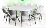 옥외 정원 가구 백색 합성 수지 둥근 접히는 결혼식 테이블
