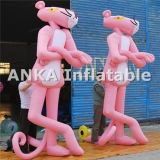 Grand personnage de dessin animé rose gonflable vif de panthère