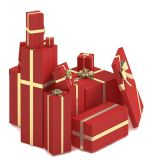 De Zakken van de Gift van het Document van de rode Kleur voor de Verpakking van Kerstmis (flb-9360)