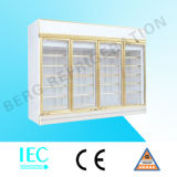 4 Glass Door Upright Chiller for Drinks