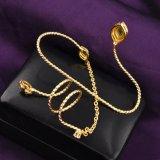 실제적인 금 도금된 구리 형식 여자 지르콘 종려 팔찌 R990