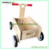 Il tiro e la spinta di legno naturali vanno giocattolo del carrello del bambino del gioco dei capretti del carrello