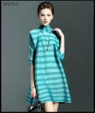 Spätester Streifen-lockere beiläufiges Kleid-Entwürfe für Damen