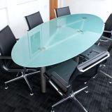 よの中国楕円形の平らな/Pencil/の斜めの端のゆとりの浮遊物によって和らげられるダイニングテーブルの上のガラス卸売