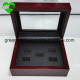 Коробки кольца PU 6 отверстий коробка индикации кольца черной деревянной красная покрашенная деревянная