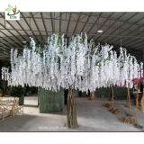 Uvg grande de plástico de 4m Wisteria Artificial árbol en flor de color blanco con flores de seda para bodas