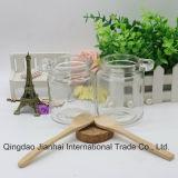 Bouteille en verre de pudding d'oreille simple pour mettre la cuillère avec les couvercles en bois