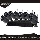 kit sin hilos de la cámara NVR del CCTV del punto negro de la seguridad del IP de la sinc. 8CH con el arsenal LED