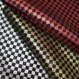 A seda sintética imprimiu o couro do plutônio do Glitter da grade para a sapata do saco