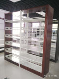 De houten Boekenrekken van het Metaal van het Boekenrek van de Bibliotheek van het Staal van de School van de Kleur