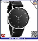 Yxl-851 het volledige Horloge van de Mensen van de Douane van het Horloge van de Riem van het Leer van de Korrel Duidelijke Minimalistische Zwarte