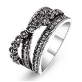 Retro Rhodium van de Stijl Zwarte Ringen van het Plateren met de Juwelen van de Halfedelsteen