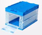Caixa de armazenamento plástica transparente dobrável Caixa desobstruída com tampa