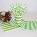 Eco-Friendly Striped зеленые бумажные мешки для партии