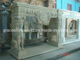 Желтая каминная доска камина мраморный статуи