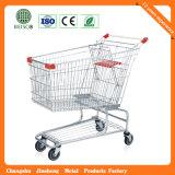 Trolley de compras de plástico de supermercado europeu de 4 rodas